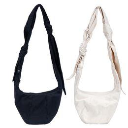 Hobo messenger bags online shopping - Women Tied dumplings canvas bag outdoors travel shoulder bag Messenger handbag creative design cute girl bags LJJQ284