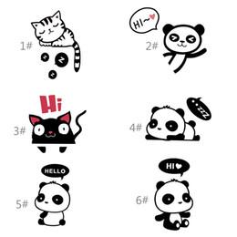 Ingrosso Decalcomania rimovibile Decal Cat Panda Cute Animals Sticker Camera da letto Soggiorno Home Decor Cartone animato PVC Adesivo resistente all'acqua
