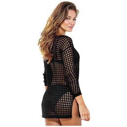9c07c292158c 8 Fotos Vestir vestidos de crochê preto ? venda-Mulheres quentes malha sexy  oco crochet manga longa