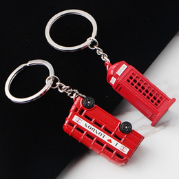 Miniature Ring Australia - Vintage Telephone Booth British Miniature London Car Key Ring Red Metal Keychain