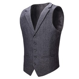 $enCountryForm.capitalKeyWord UK - Dark Gray Groom Vests Wedding Brown Wool Herringbone Tweed Groomsmen Vests Men's Suit Party Prom Farm Country Waistcoat Real Image 2019