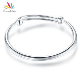 $enCountryForm.capitalKeyWord Australia - Solid 990 Silver Plain Bangle Bracelet Baby Kids Children Gift Adjustable Size CFB8002 Dropshipping Service Available