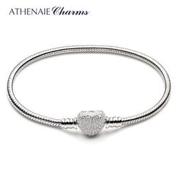 $enCountryForm.capitalKeyWord Australia - Athenaie 925 Sterling Silver Snake Chain With Pave Clear Cz Heart Clasp Bracelet Fit All European Charm Beads Valentine' Jewelry J190703