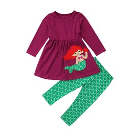 baby girl mermaid outfit UK - Children Clothing 2018 Toddler Kids Baby Girls Clothes Set Girl Mermaid Tops Mini Dress Pants Leggings 2pcs Outfits 1-6T