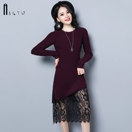 Lace hem sweater woman online shopping - ASLTW Long Sweater Dress For Women New Fashion Plus Size Long Sleeve Lace Hem Lady s Sweater Solid O Neck Pullover Dress