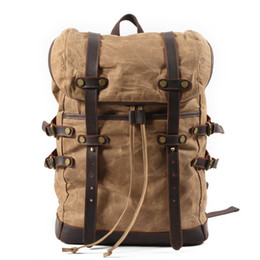 bee6a2ff03 Zaino da college impermeabile in tela e pelle vintage da uomo Zaino da  college impermeabile con borsa Schlool da viaggio per laptop da 16 pollici