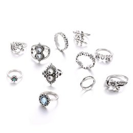 stack rings wholesale Australia - Antique Silver Knuckle Ring Set Elephant Flower Crown Leaf Rings Stacking Rings Midi Rings Women Designer Ring Will and Sandy