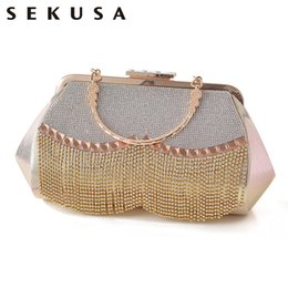 clutches for evenings Canada - SEKUSA Tassel rhinestones women evening bags acylic diamonds handle clutch bag for wedding bridal purse