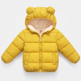 yellow children jackets NZ - Boys Girls Jackets Winter Kids Hooded Jackets Winter Warm Thick Coat Baby Children Clothes Zip Outwear Long Sleeve Coat 2-6 Year
