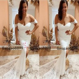 TrumpeT whiTe flower gowns online shopping - 2019 Mermaid Lace off the shoulder Wedding Dresses Simple white Bridal Gowns Sheer lace Ssexy split Custom Made Vestido de noiva