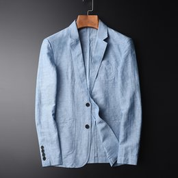 $enCountryForm.capitalKeyWord Australia - TANG High Quality New Arrival Blazer Man New Linen Suit Jacket Autumn Casual Mianma Male Single Breasted Size M-L-XL-2XL-4XL