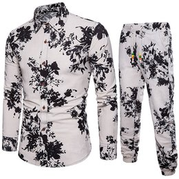 Painting Clothing Australia - Hand-painted Male Long Sleeve Set Gentleman Festival Wear Casual Suit 2019 Autumn New Linen Clothing 5XL Big Size Slim Shirts