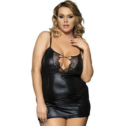 5e54bc0c8 Women Black Faux Leather Slips Sheer Mesh Splicing Nightdress Sexy Female  Sexy See Through Dress Nightwear Plus Size