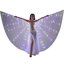 Wholesale LED Isis Wings Belly Dance LED Light up Wings Performance Costume Party Club Wear Dance Accessories LED Butterfly Wings With Stick