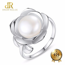 bridal pearls set 2019 - DR Flower Shape 10-15MM White Freshwater Pearl Ring Gift For Women Brand 925 Sterling Silver Bridal Wedding Jewelry Ring