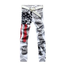 Wholesale american flag printed jeans resale online – designer Big size Brand Men s pants New White Printed Fashion Men Jeans Slim Stretch Printing American Flag Jeans Hombre