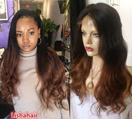 $enCountryForm.capitalKeyWord Australia - Ombre human hair wigs glueless #1B #30 two tone lace front human hair wigs full lace wig body wave with bleached knots