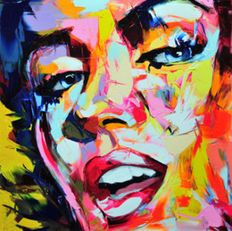 painting faces Canada - Hand painted Palette knife painting portrait Palette knife Francoise Nielly Face Abstract Oil painting Impasto figure on canvas Decor FN57