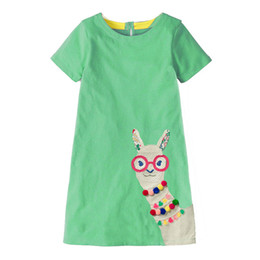 Wholesale Kidsalon Girls Cotton Tunic Dress Short Sleeve Brand Summer Princess Dress Cartoon Alpaca Appliques Children Costume for Kids Dresses