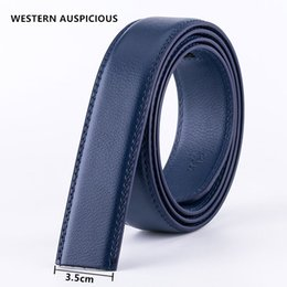 men red belt NZ - WESTERN AUSPICIOUS Belt No Buckle 3.5CM Cowskin Genuine Leather Belt Men Without Automatic Buckle Strap Blue Red Coffee Brown
