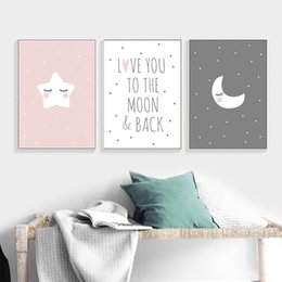 cartoon star picture Australia - Baby Nursery Quote Canvas Poster Moon Star Cartoon Wall Art Print Minimalist Nordic Kids Decoration Picture Children Room Decor