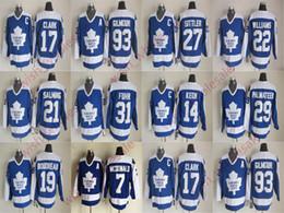 Barato Toronto Maple Leafs Wendel Clark Doug Gilmour Jersey Borje Salming Darryl Dave Keon Sittler Vintage CCM Costurado Homem camisas de hóquei venda por atacado