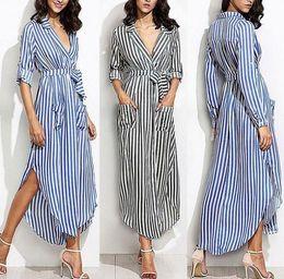 Wholesale women night shirts online – Women Elevertical Striped Long Shirt Dress Cardigan Ladies Lapel Long Sleeve Split Maxi Dresses With Belt Vestido