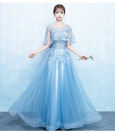 $enCountryForm.capitalKeyWord Australia - Lace Sheer Neck 2018 Evening Dresses Sky Blue A-line Tulle Prom Dresses Vintage Cheap Bridesmaid Formal Party Gowns
