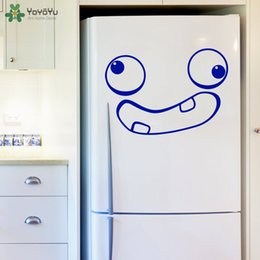 kitchen door stickers NZ - Funny Face Kitchen Fridge Door Decals Interior Crazy Face Home Decor Removable Vinyl Decal Cute Adhesive Stickers Art DIY