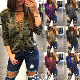 Ladies Full T Shirt Australia - Hot sale autumn ladies tops new design Camouflage low chest t-shirt comfort fabric long sleeve deep v-neck sexy tops
