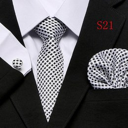 silk plaid NZ - Suit Necktie Ties for Men Gravatas Mens Accessories Wide Silk Tie Set Geometric Plaid Business Hanky Handkerchief Cufflinks 20