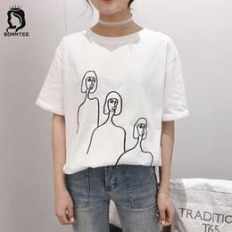 c0219f700 New Fashion Women 5 Quarter Sleeve T-shirt Womens Funny Printed Loose Female  T-shirts Females Casual Breathable Korean