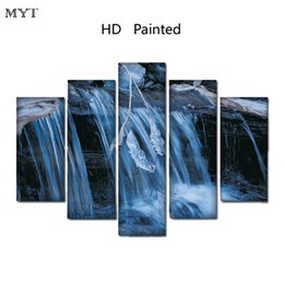$enCountryForm.capitalKeyWord NZ - HD Printed oil Paintings Spraying image on Canvas mountain waterfall scenery Wall Art pictures 5 pieces For living room Home Decor no framed
