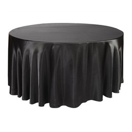 table tablecloths Australia - atin tablecloth 10pcs 275cm Round Satin Tablecloth Table Cover Polyester Table Cloth Oilproof Wedding Party Restaurant Banquet Home Black...