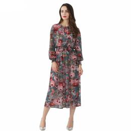 Vente en gros Femmes Floral En Mousseline De Soie Dress Deux Pièces Set À Manches Longues Taille Élastique Mi Mollet O Cou Casual Marque Robes Robes Qid32