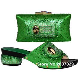 $enCountryForm.capitalKeyWord NZ - Green Color African Women Shoes and Bag Set Decorated with Rhinestone Italian Shoes with Matching Bag Set Italy Shoe and #9712