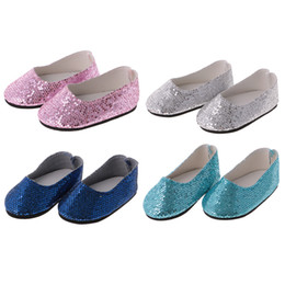 $enCountryForm.capitalKeyWord Australia - Fashion bling bling 4 Pairs of Sequins Shoes suitable for 14 inch Girl Wellie Wisher Dolls for kids gift toys