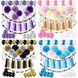 $enCountryForm.capitalKeyWord Australia - Birthday Party Decoration Stage Background Decoration Paper Flower Balloon Tassels Banner for Set Festive Party Decoration Supplies 4 Colors