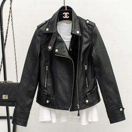 2019 новый тонкий лацканы кожаная куртка искусственная кожа куртки женщины на Распродаже