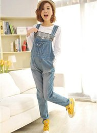 $enCountryForm.capitalKeyWord Australia - Fashion Thin Denim Blue Maternity Bib Overall Jeans with Pockets Jumpsuits Clothes for Pregnant Women Pregnancy Trousers Pants