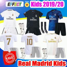2019 Real Madrid Crianças Kit de Futebol Jerseys 19/20 Casa PERIGO Branco Longe 3 º 4o Menino Criança Juventude Modric 2020 SERGIO RAMOS BALE Camisas de Futebol Kids Kits
