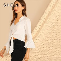 ed616bc3dd Button And Knot Front Flounce Sleeve White Blouse Women Spring Streetwear  Solid V Neck Ruffle Trim Blouse Ladies Tops C19041001