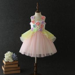 Large Tutus Australia - Large kids clothes 2019 new girls dresses colorful lace girls dress floral Princess Dresses Girls Party Dress tutu Formal Dresses A4111