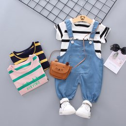 $enCountryForm.capitalKeyWord NZ - Boys summer clothes sets toddler fashion cotton t-shirt+bib pants 2pcs tracksuits for baby boys kids casual sports suits outfits clothing