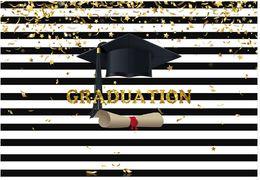 $enCountryForm.capitalKeyWord NZ - 7x5FT Black White Stripes Gold Coins Congratulations Graduation Hat Custom Photo Studio Background Backdrop Vinyl 150cm x 220cm