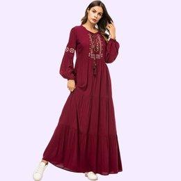 $enCountryForm.capitalKeyWord Australia - Vintage Ethnic Geometric Embroidery Women Long Dress 2019 Casual Maxi Dresses Long Sleeve Draped Swing Burgundy