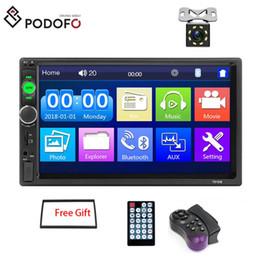 Podofo Car Audio Mirror Link Autoradio 2 din Car DVD 7 '' polegadas HD Touch Screen Bluetooth Auto estéreo + 8 IR LED Câmera de visão traseira venda por atacado