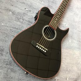 hollow guitar black NZ - 39-inch black guitar red hollow hoop guitar, silent guitar support personalized customization service
