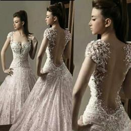 Discount salamoun dresses - Gorgeous Sheer Backless Beads Wedding Dresses 2019 Rami Salamoun Pleats Plunging Neck Court Train Tulle Applique A-Line