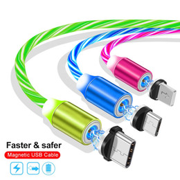 Charging Cable magnet online shopping - Flowing Light LED Magnetic suction Charger Cable Fast Charge Data Cable Magnet Cord M Micro USB Type C cable For Samsung Xiaomi LG android